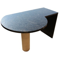 Table en Granit Spectrolite Brown, satiné avec pied en Pierre de Bourgogne