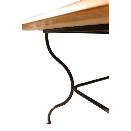 Table en Marbre Zarcy, vieilli avec pied en fer forgé