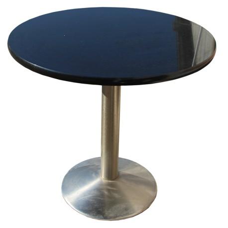 Table en Granit Noir Zimbabwe poli avec pied central en acier